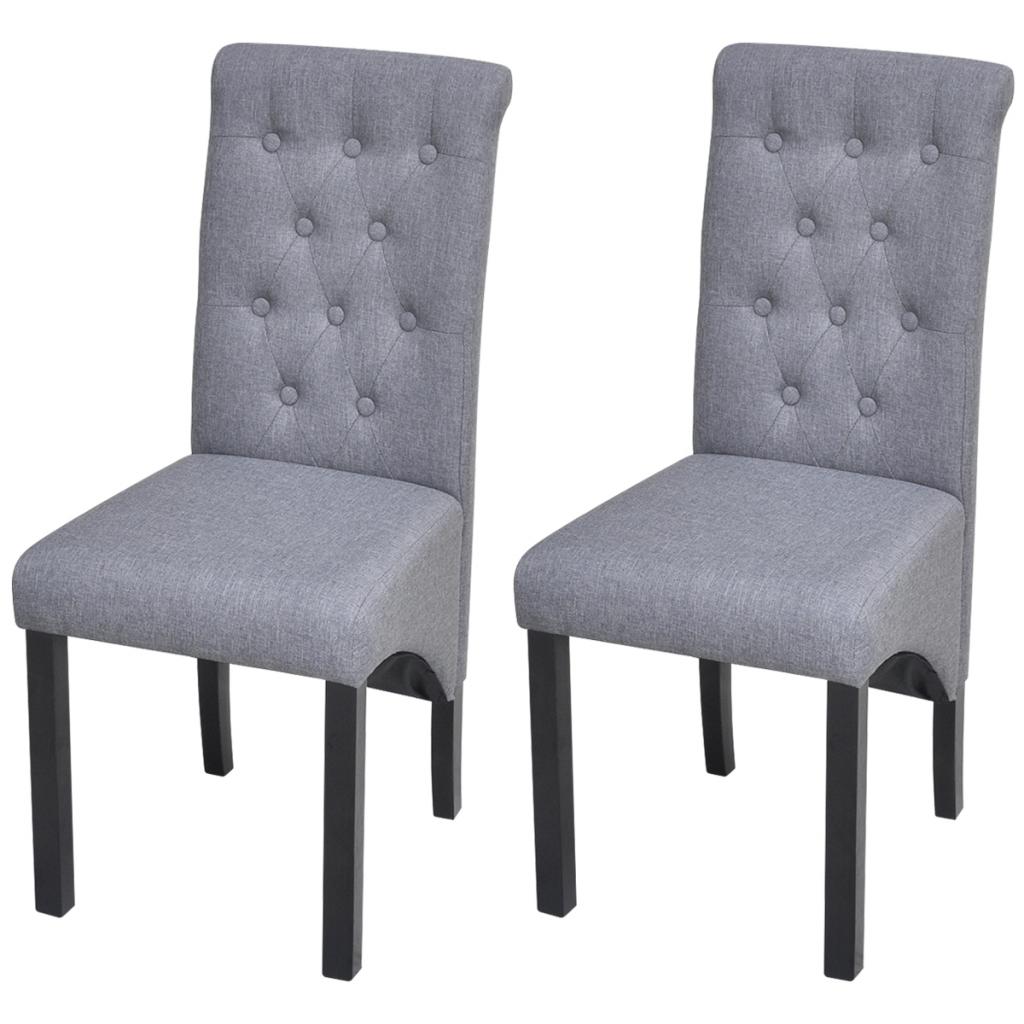 Only 2 chaises salle manger tissu gris fonc for Chaises dossier haut salle a manger