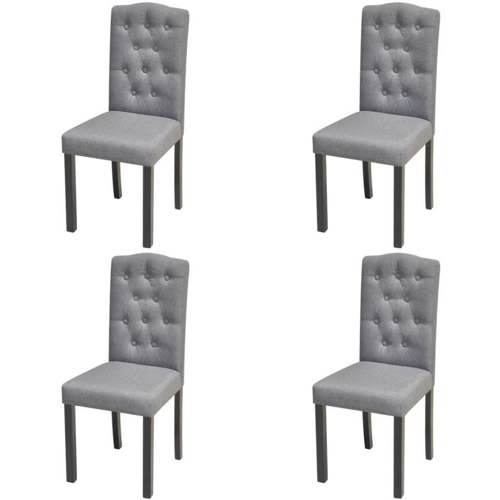 Sólo 209.28€, 4 sillas de comedor con tapizado de tela gris oscuro ...