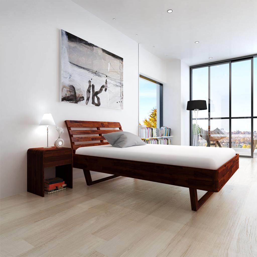 Sólo 351.92€, cama de madera de acacia marrón 200x140 cm - LovDock.com