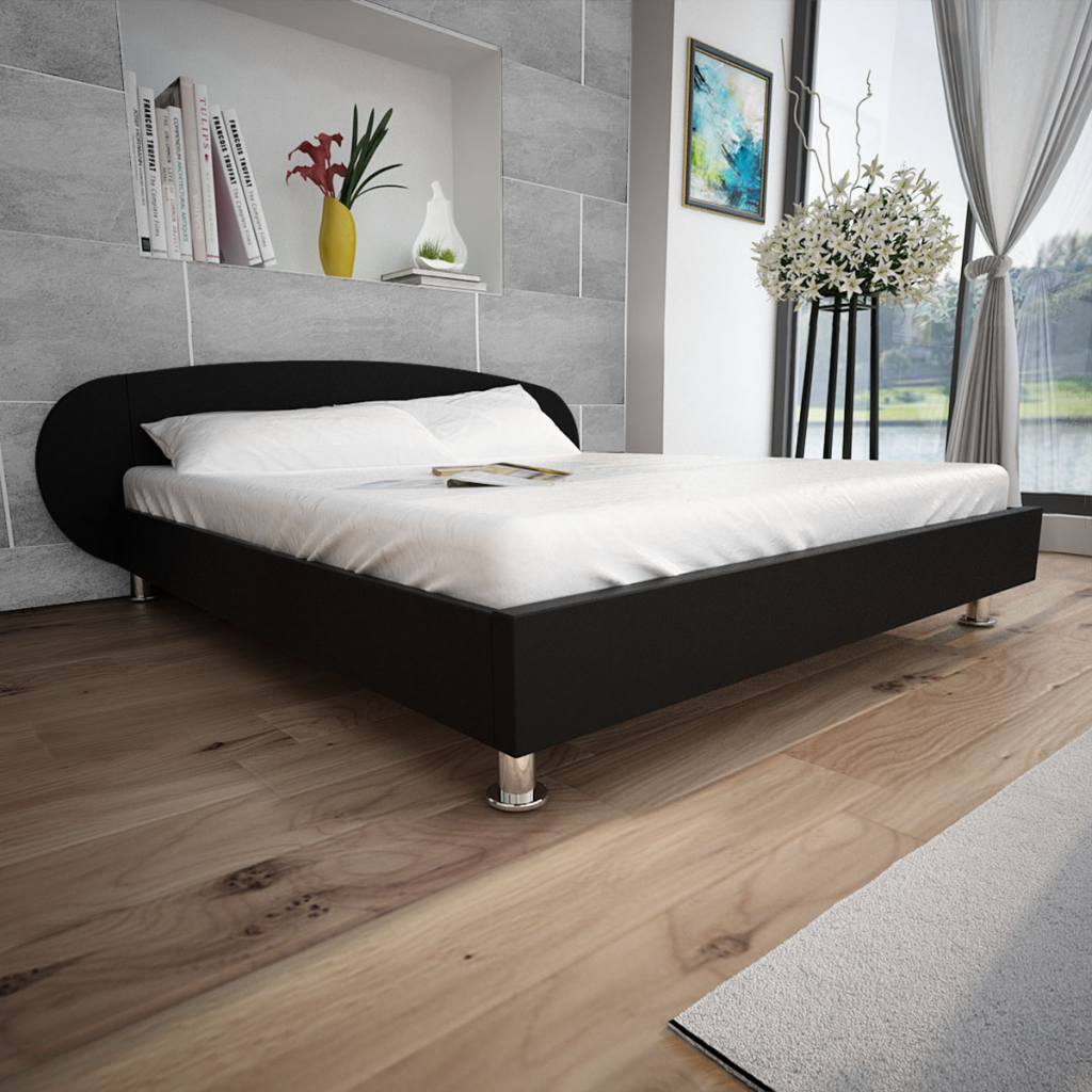 Tweepersoonsbed 140 Cm.Black Black Artificial Leather Bed 140 X 200 Cm Lovdock Com