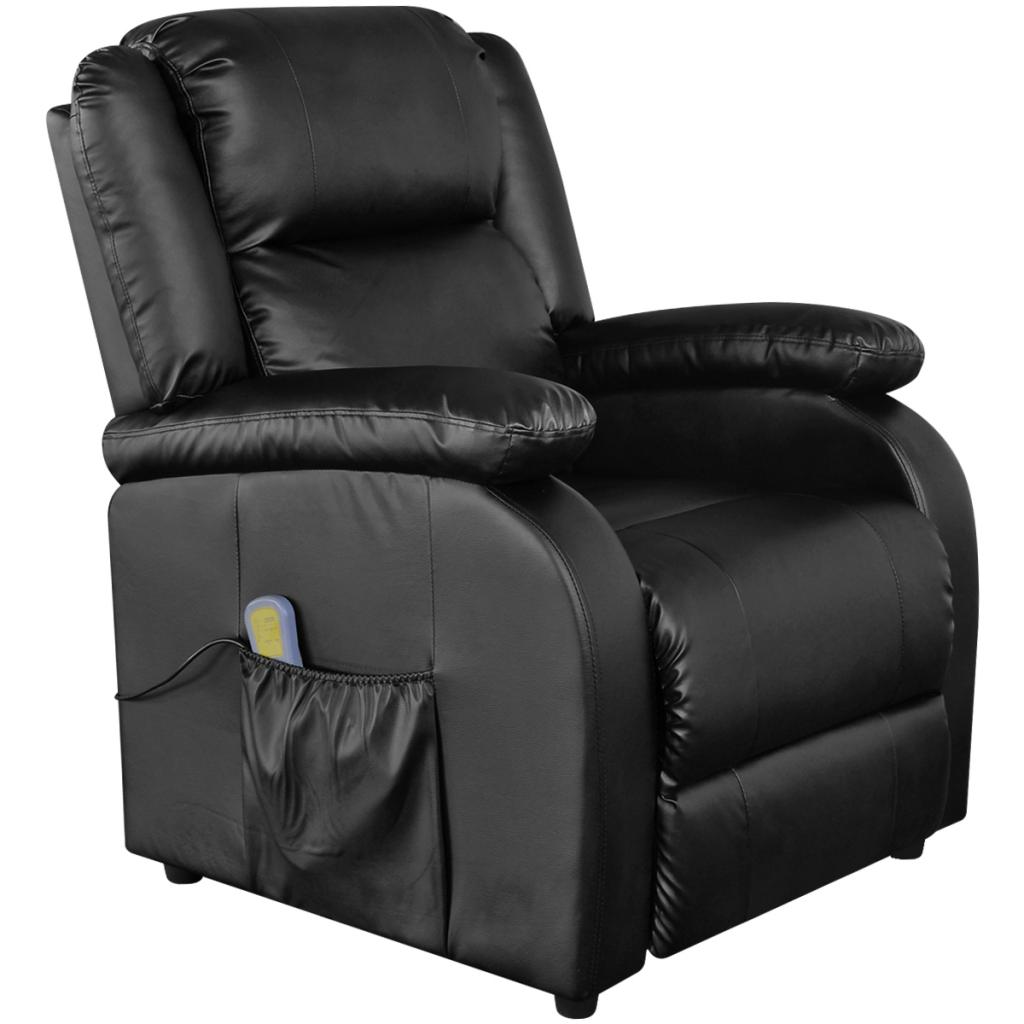 Electric Massage Chair Black Imitation Leather Armchair TV