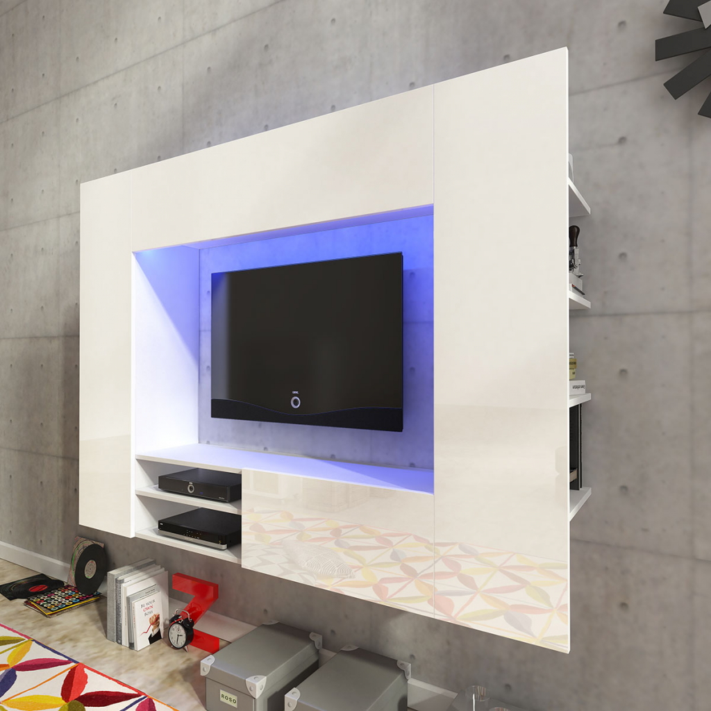 White High Gloss Entertainment Center LED TV Wall Unit 169.2 Cm