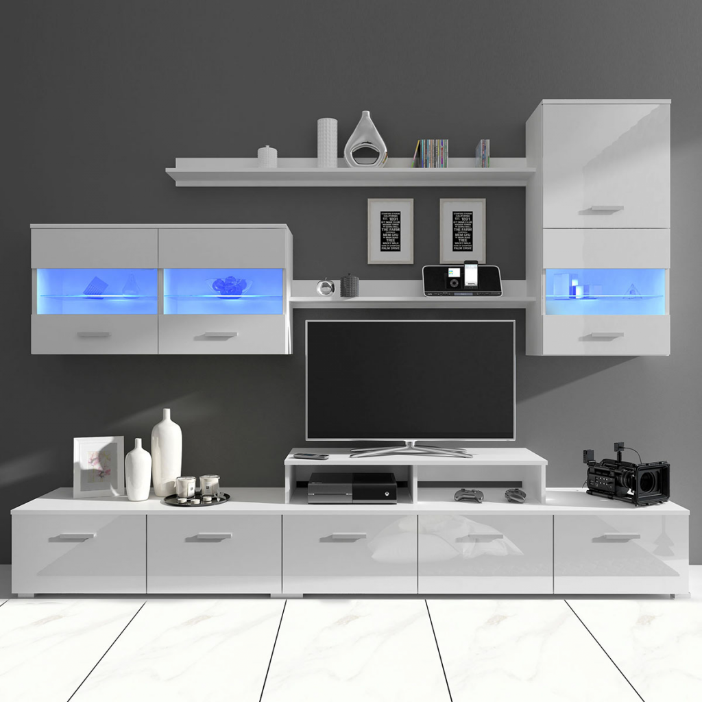 7 Piece White High Gloss Wall Display Cabinet Tv Unit Led Light 250 Cm