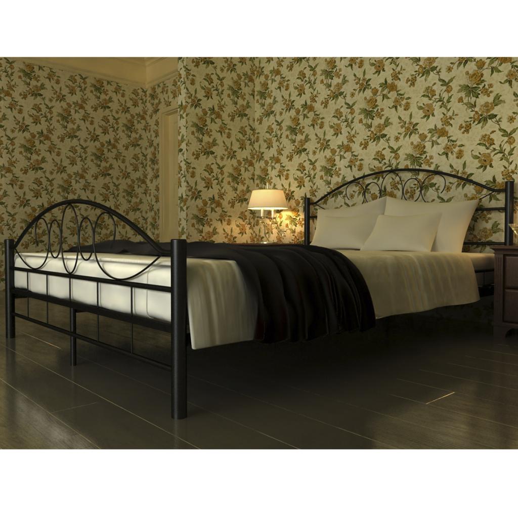 Sólo 217.85€, cama metal negro con colchón de 140 x 200 cm - LovDock.com