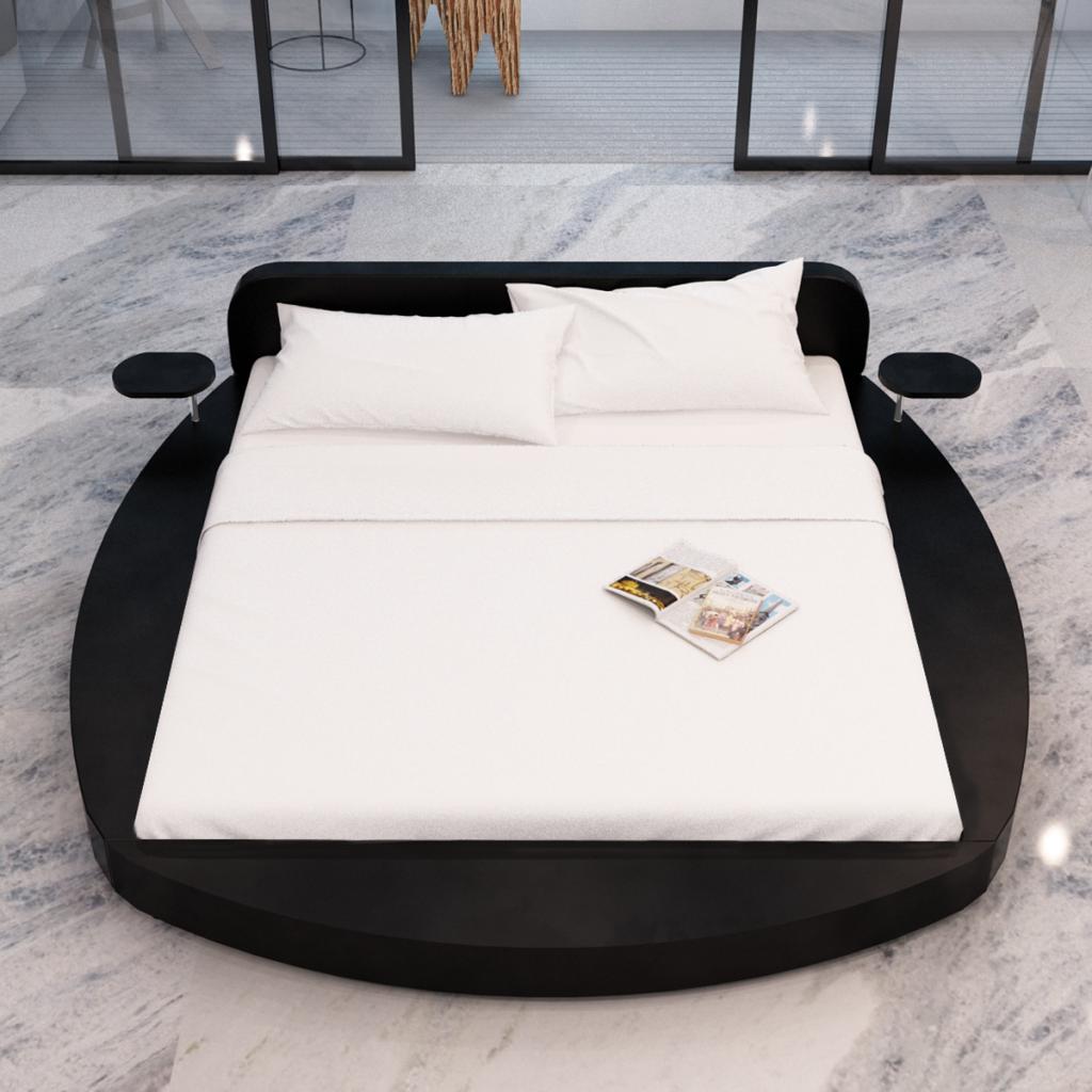 Sólo 432.34€, Cama redonda de cuero artificial negro 180 cm 2 Las tabletas y colchón - LovDock.com