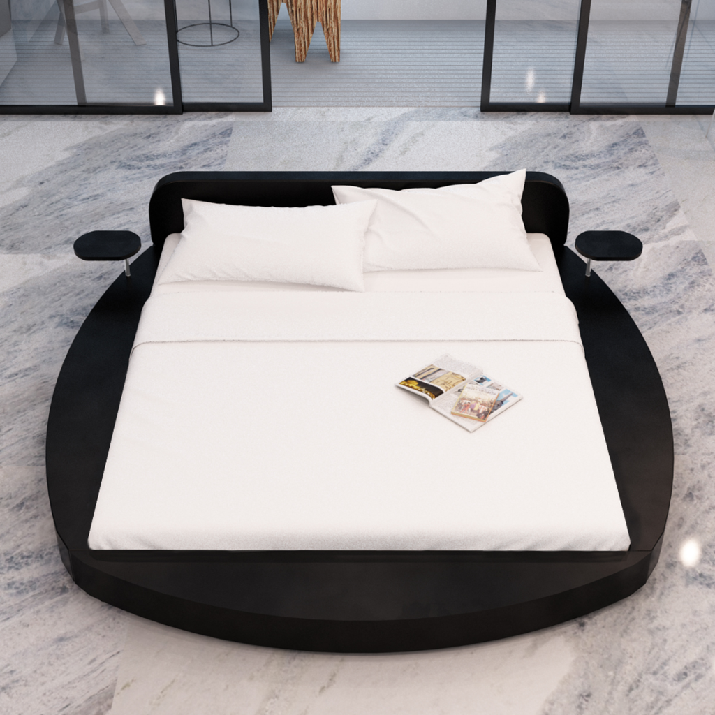 nur rundes bett kunstleder black 2 tabletten und 180 cm matratze. Black Bedroom Furniture Sets. Home Design Ideas