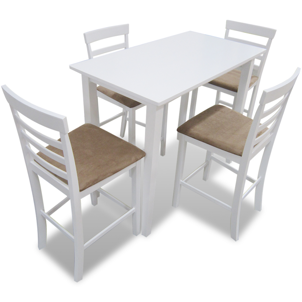 Solo 245.56€, Bianco tavolo da bar in legno e 4 sgabelli da bar ...