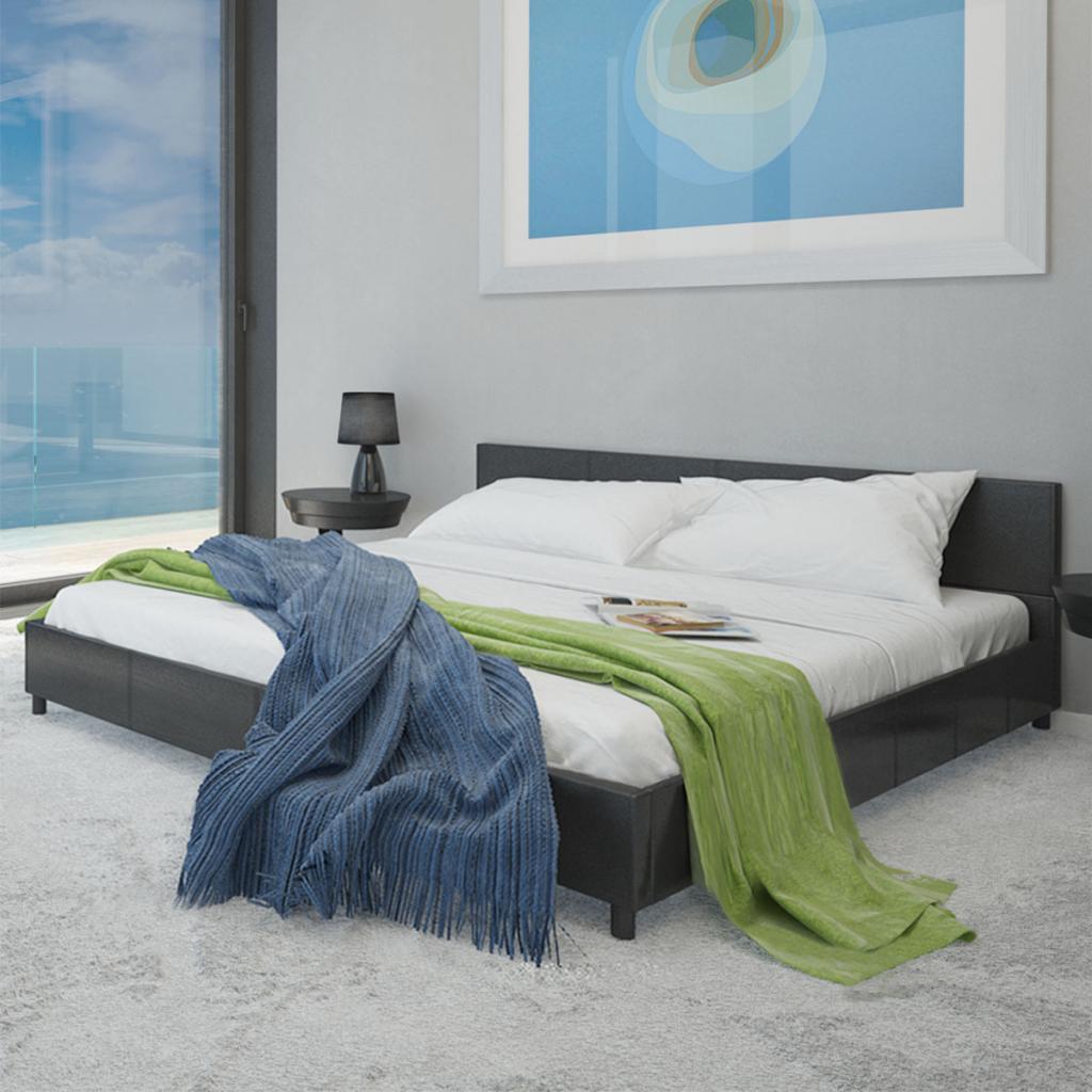 Sólo 432.07€, Negro de imitación de cuero cama de 180 x 200 cm con ...