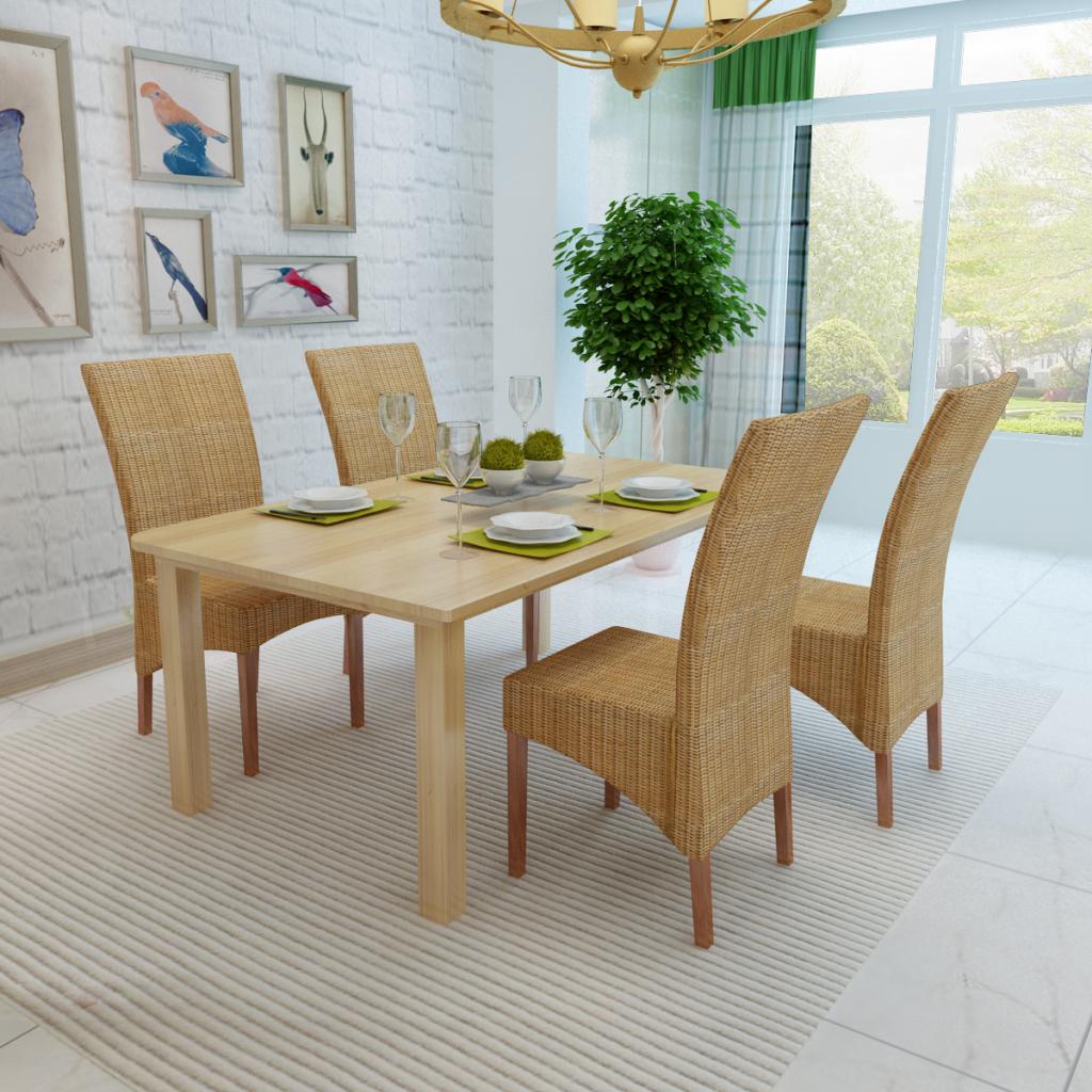 S lo conjunto de 4 sillas de comedor de mimbre for Sillas mimbre comedor