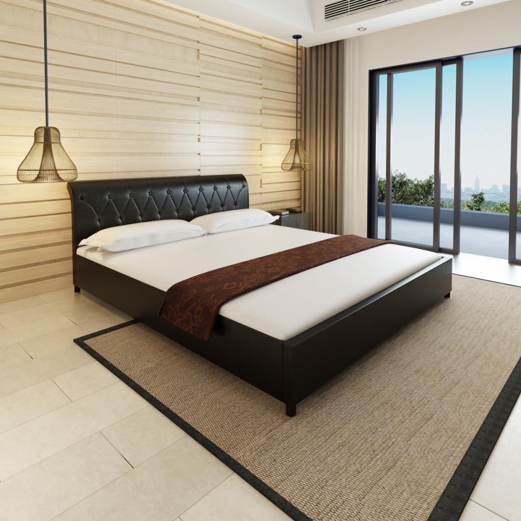 Nur 345.83€, Kunstleder Bett 180 x 200 cm schwarz gesteppte Matratze ...