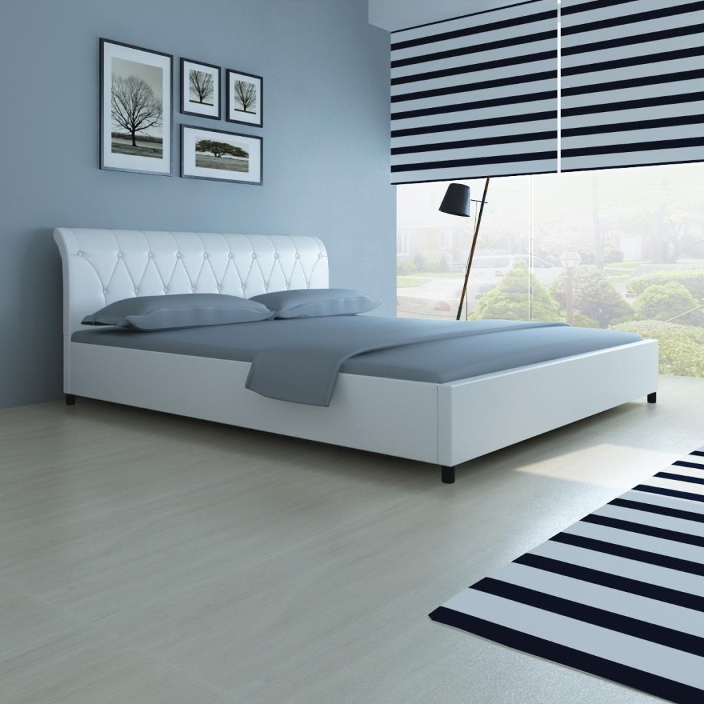 Nur 310.88€, Kunstleder Bett 180 x 200 cm weiß gesteppte Matratze ...