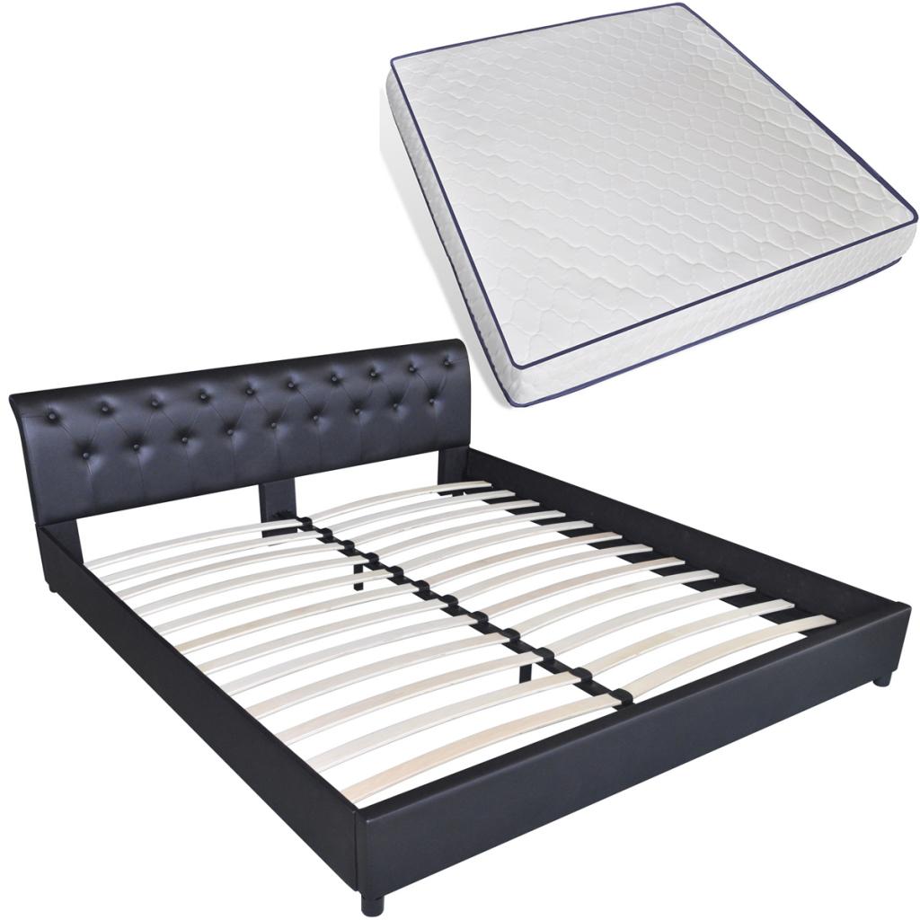 Nur 310.88€, Kunstleder Bett 180 x 200 cm schwarz gesteppte Matratze ...