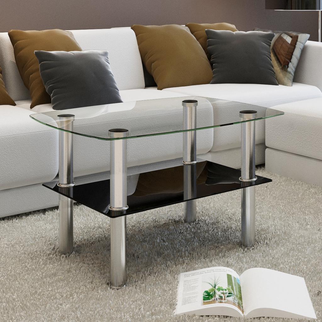 nur couchtisch aus glas 2 tiers. Black Bedroom Furniture Sets. Home Design Ideas
