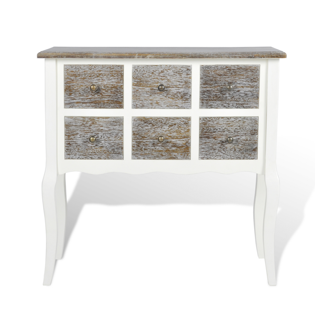 Exceptionnel Console Cabinet 6 Drawers White Wood