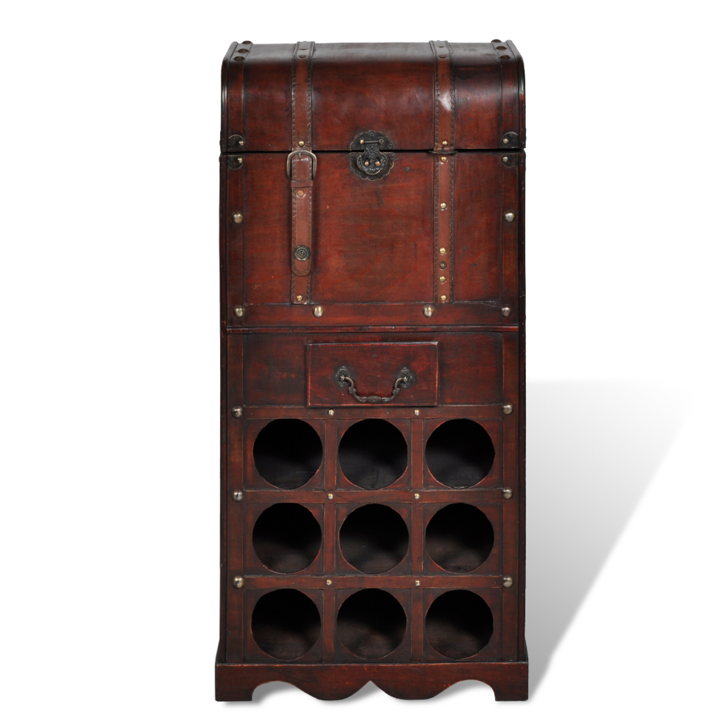 Red Wine Wooden Wine Rack For 9 Bottles Storage Trunk With
