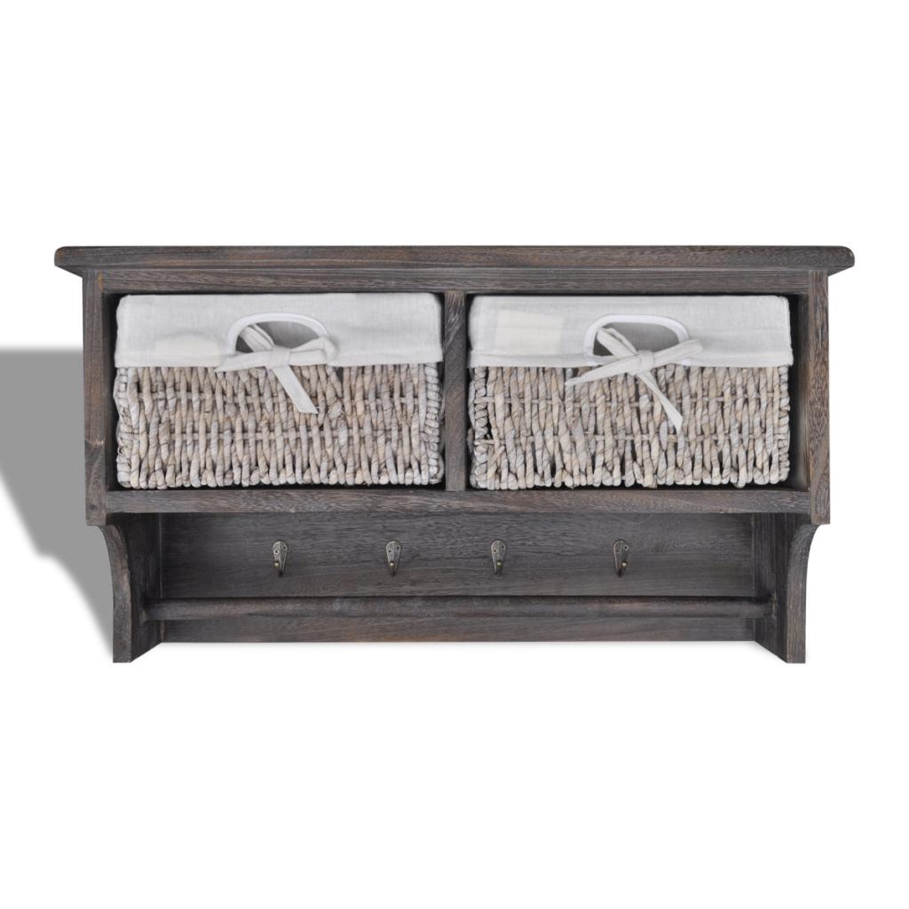 brown brown wooden wall shelf with hangers 2 weaving baskets 4 hooks. Black Bedroom Furniture Sets. Home Design Ideas