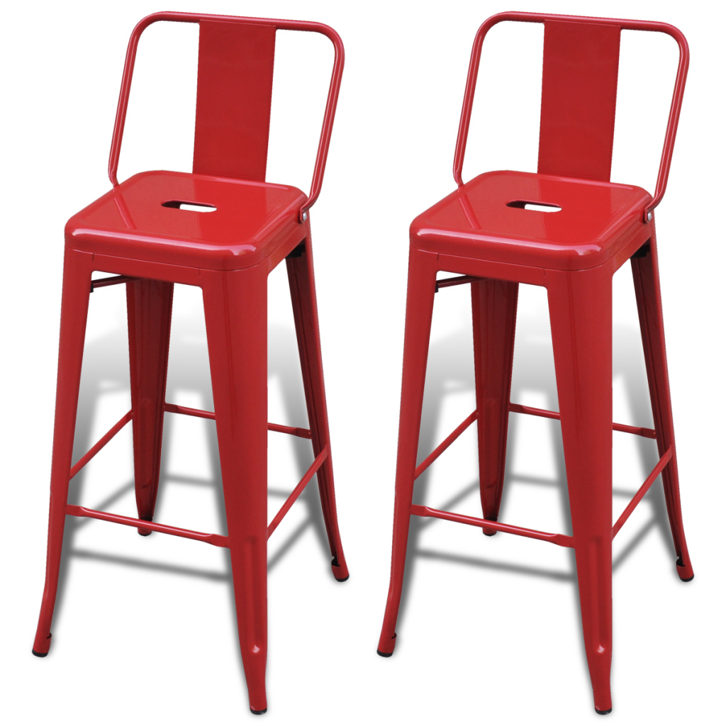 Bar Chair High Chairs Stools Square 2 Pcs Back Red