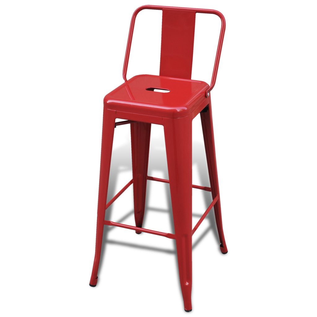 Red Bar Chair High Chairs Bar Stools Square 2 Pcs Back Red