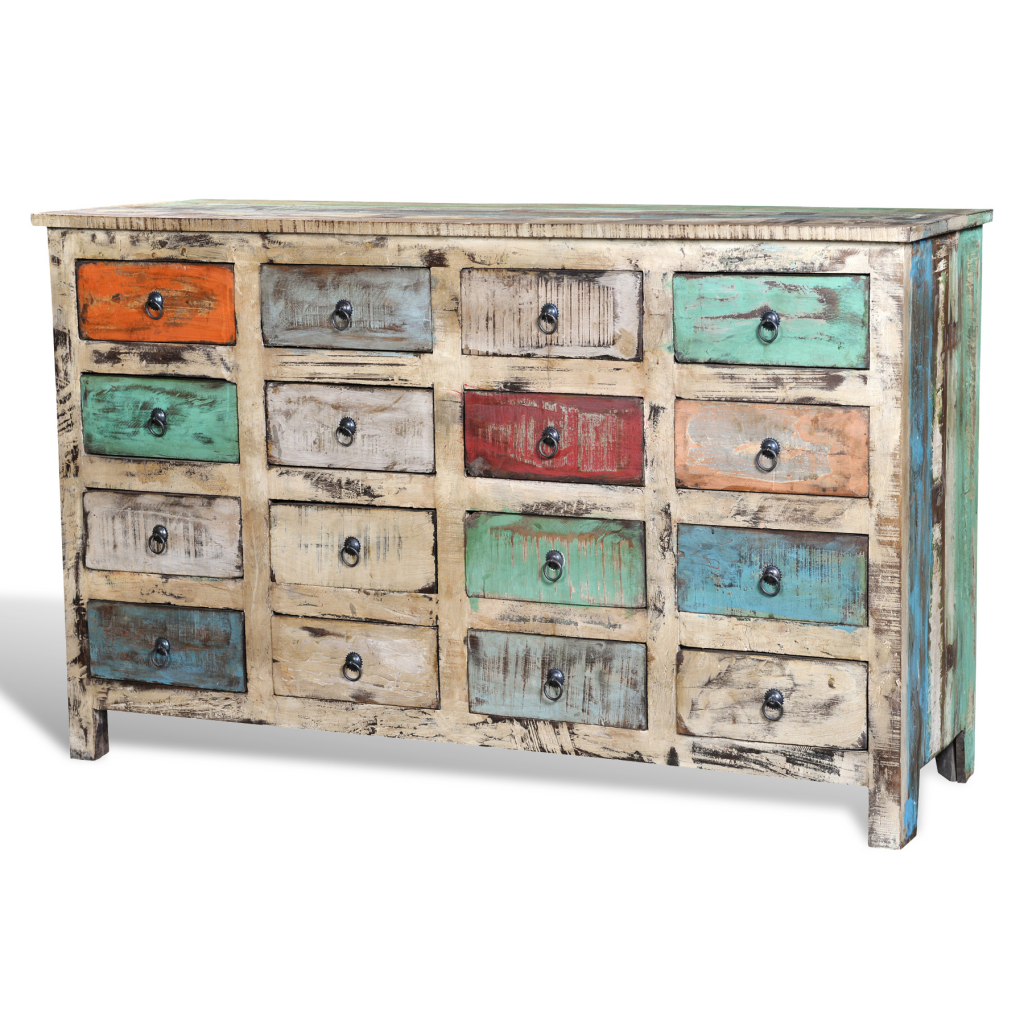 Reclaimed Wood Cabinet Storage with 16 Drawers White  sc 1 st  LovDock & multicolor Reclaimed Wood Cabinet Storage with 16 Drawers White ...