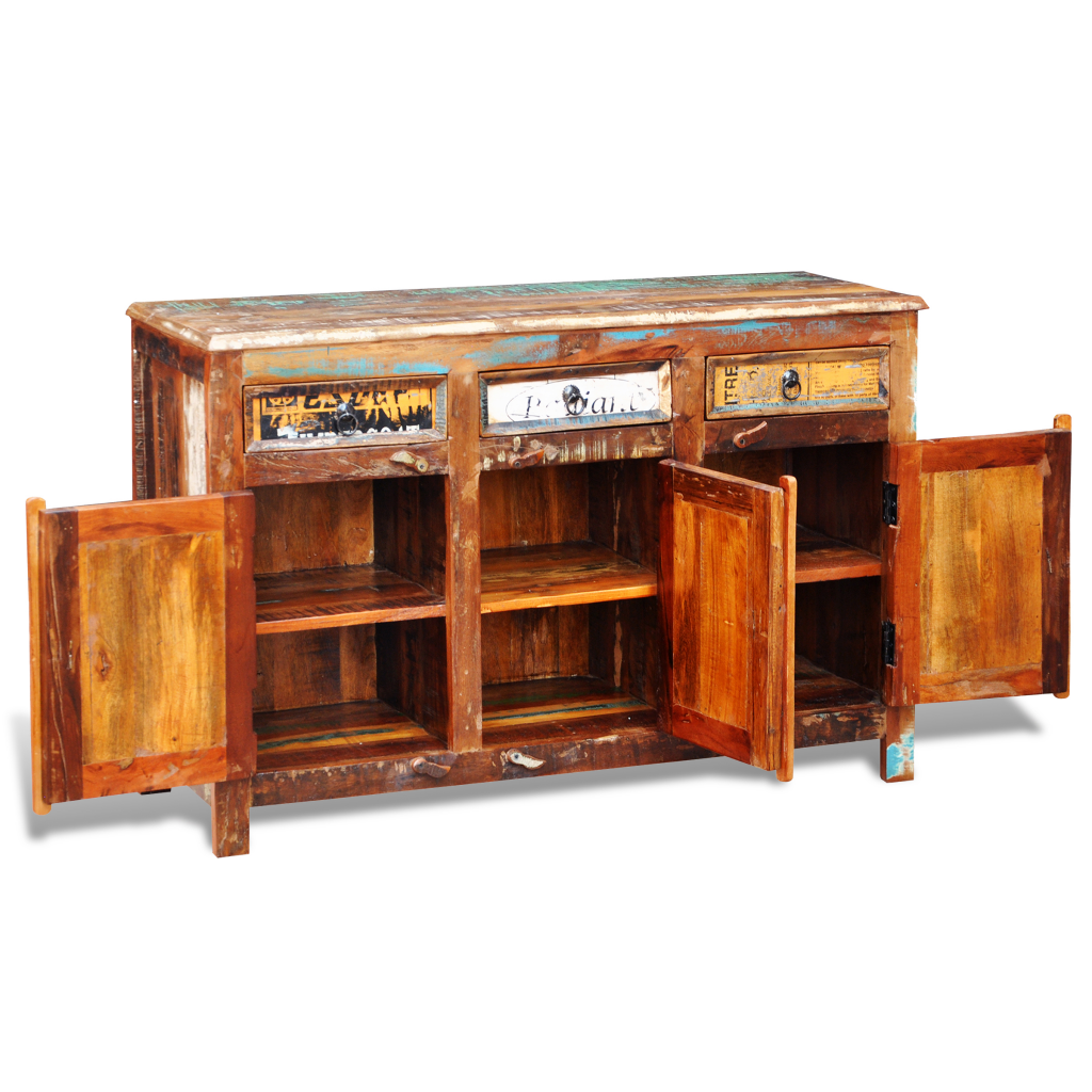 Wood Reclaimed Wood Cupboard Cabinet Sideboard 3 Drawers 3