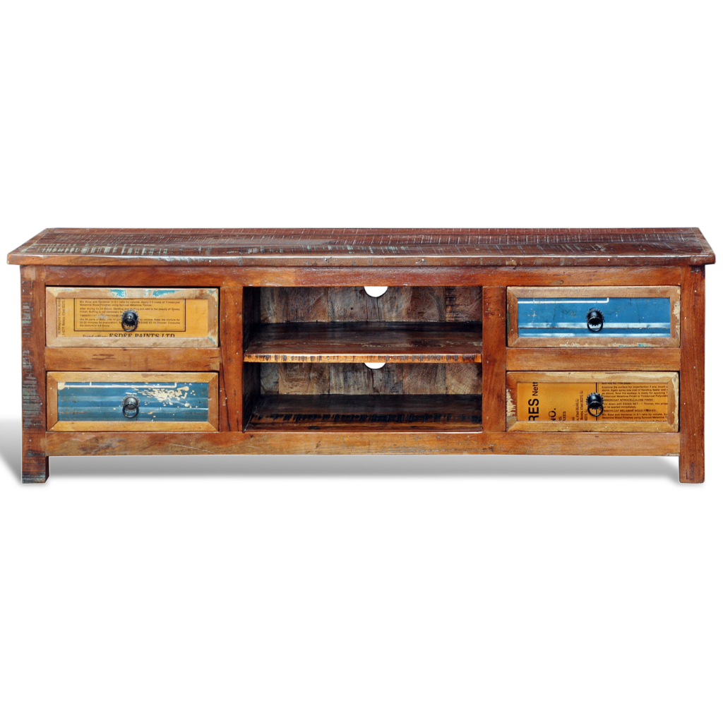 Reclaimed Wood Tv Cabinet Stand 4 Drawers