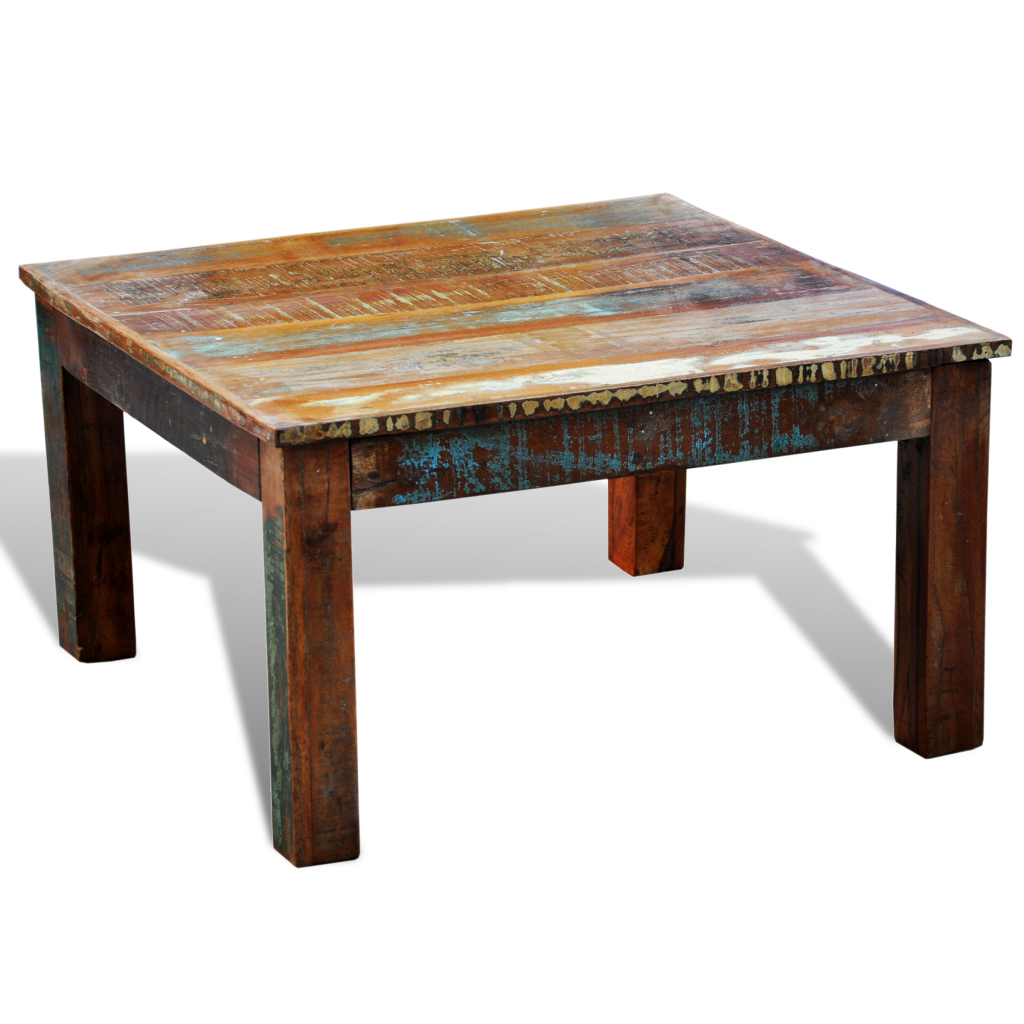 Wood Reclaimed Wood Coffee Table Square Antique Style