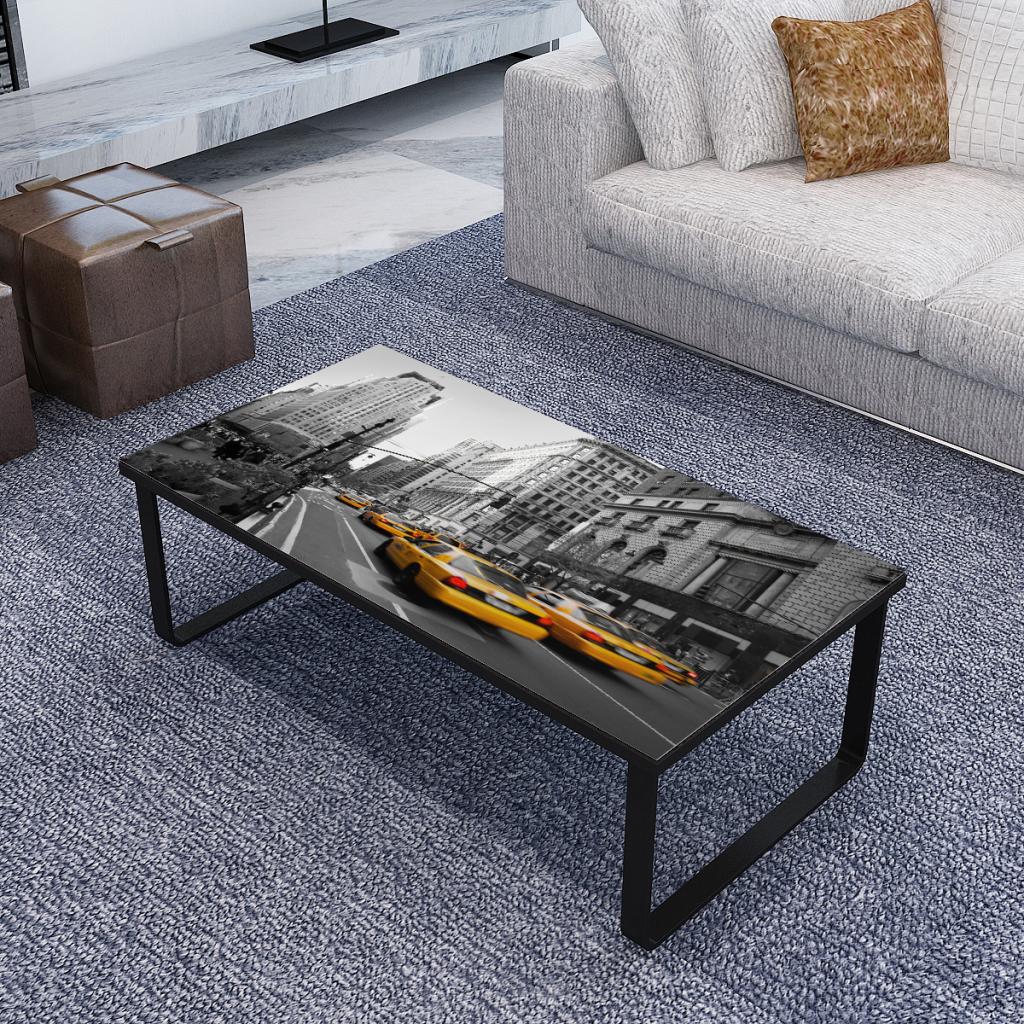 Rectangular Coffee Table Side Table Sofa Table Print On Glass