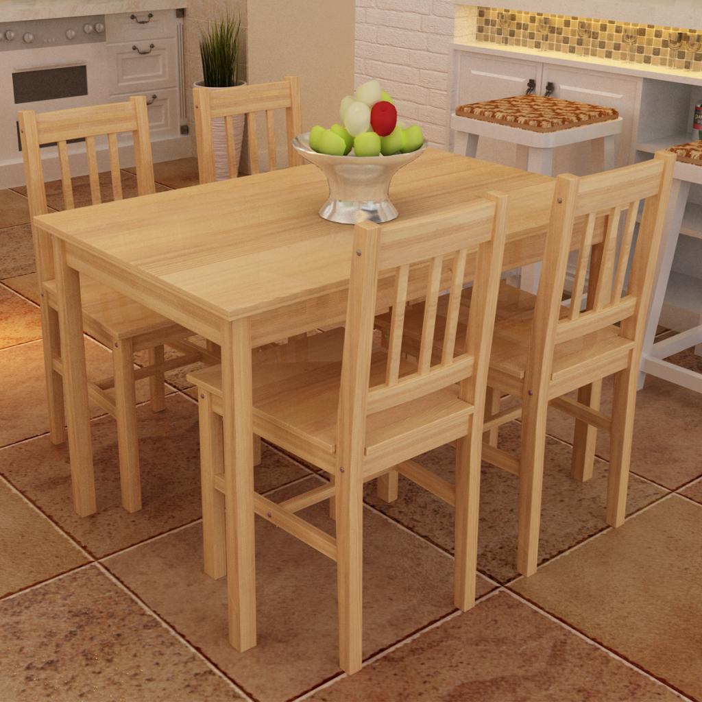Slo 14181 Madera mesa con 4 sillas Naturales LovDockcom