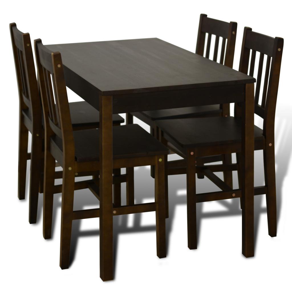 Sólo 168.76€, Madera mesa con 4 sillas Brown - LovDock.com
