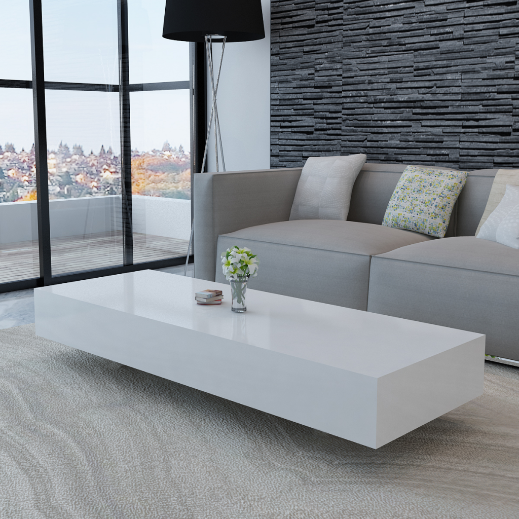 Attractive white White High Gloss Coffee Table 115 cm - LovDock.com XQ85