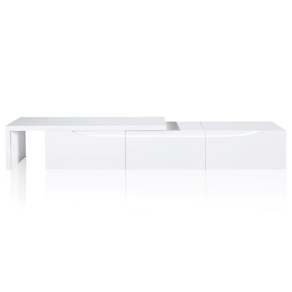 nur wei hochglanz ausziehbare tv st nder 240 cm. Black Bedroom Furniture Sets. Home Design Ideas