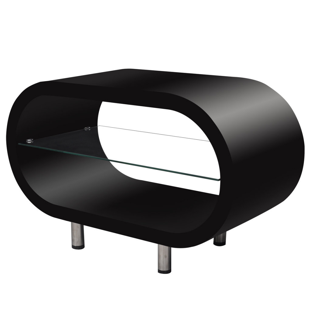 High Gloss Black Coffee Table Tv Stand Oval