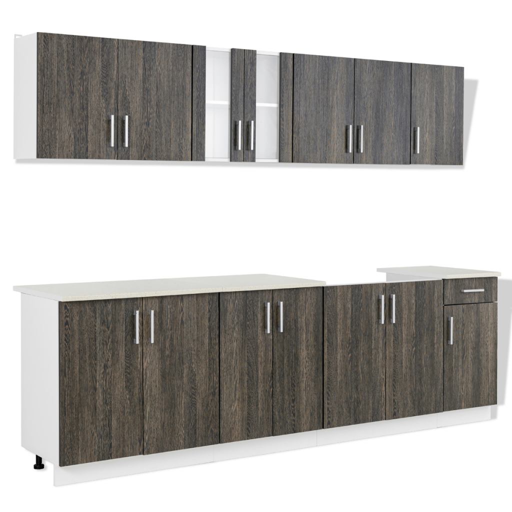 gray Wenge Look Kitchen Cabinet with Base Unit for Sink 8 pcs ...