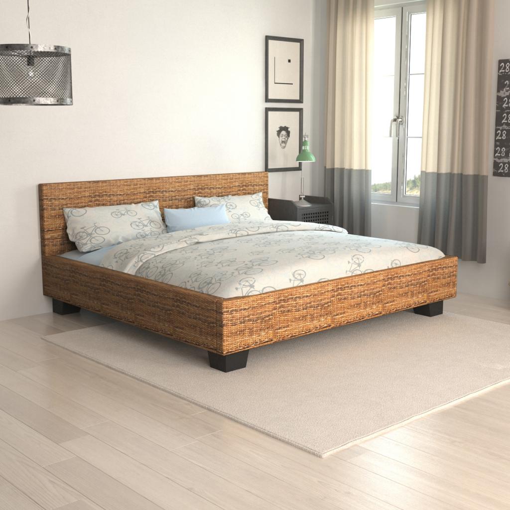 Sólo 176.71€, Tejido a mano Abaca Rattan cama de 140 x 200 cm ...