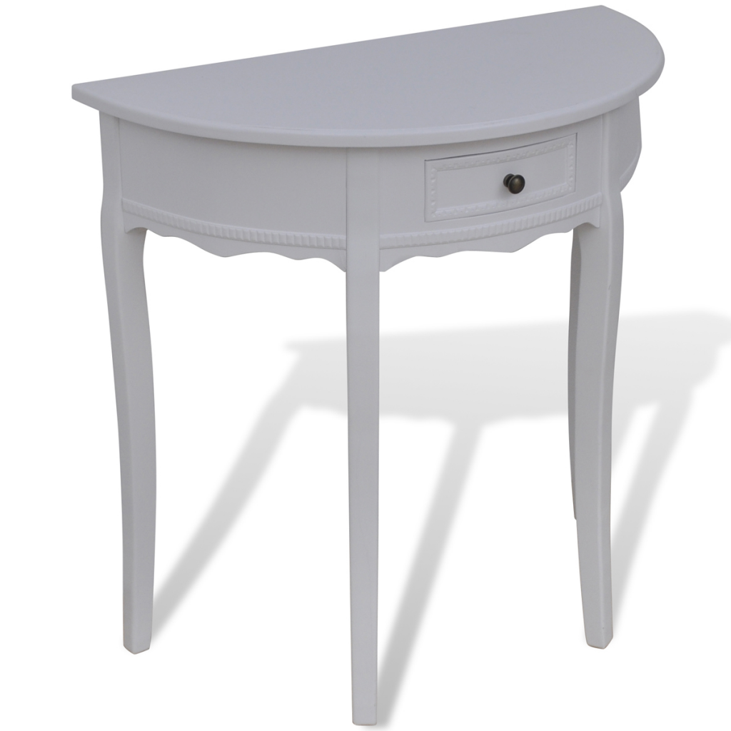 round console table. White Half-round Console Table With Drawer Round
