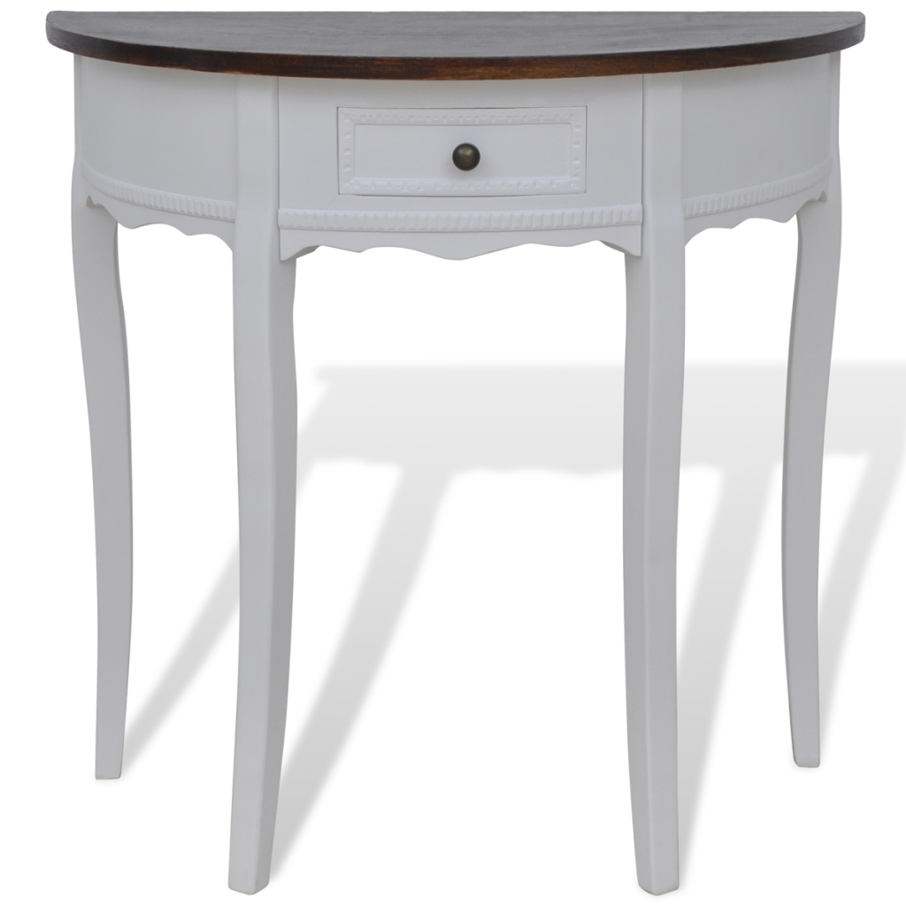 White white half round console table with drawer brown top white half round console table with drawer brown top geotapseo Gallery