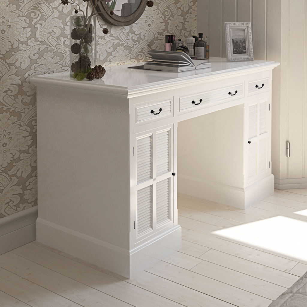 White White Double Pedestal Desk With Cabinets And Drawers