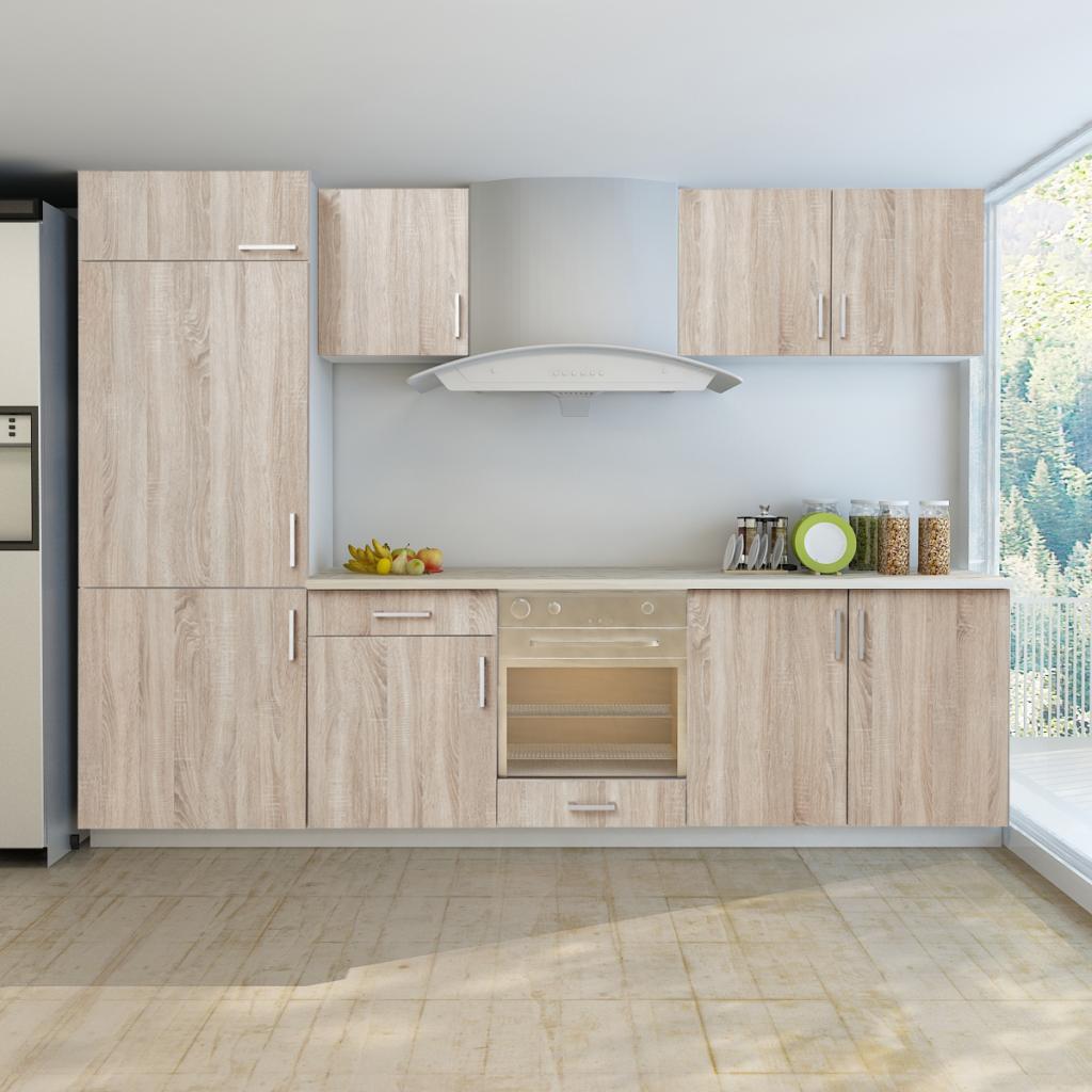 Wood 7 Pcs Oak Look Kitchen Cabinet Unit For Built In Fridge