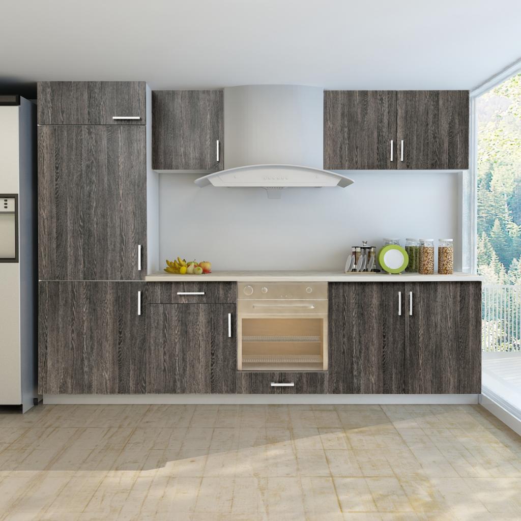Wenge Kitchen Cabinets | Wood 7 Pcs Wenge Look Kitchen Cabinet Unit For Built In Fridge