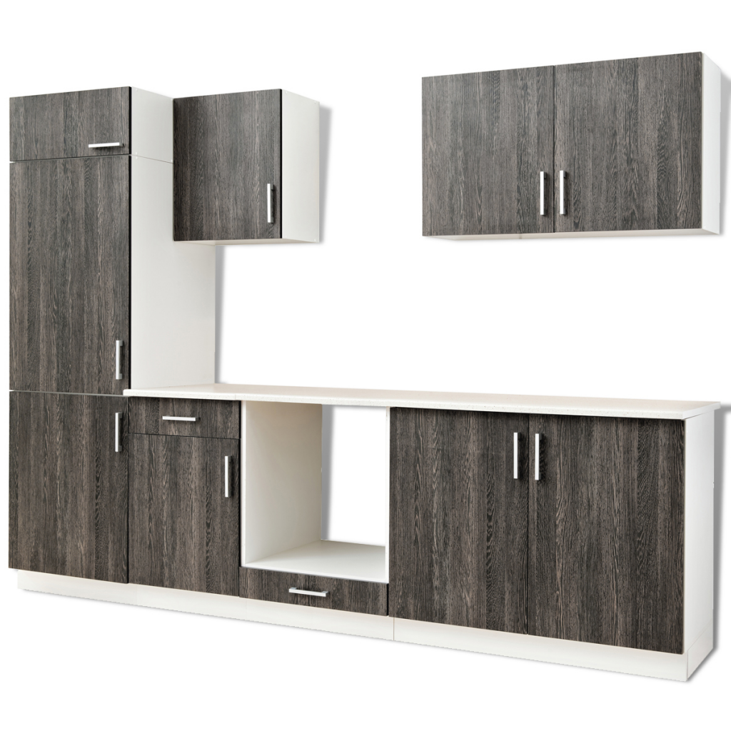 wood 7 pcs Wenge Look Kitchen Cabinet Unit for Built-in Fridge ...