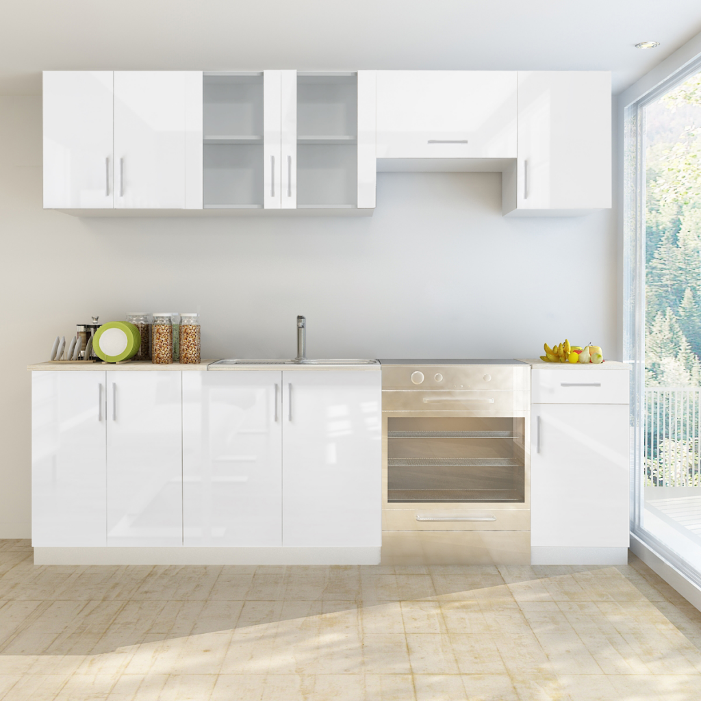 White 7 Pcs High Gloss White Kitchen Cabinet Unit 240 Cm