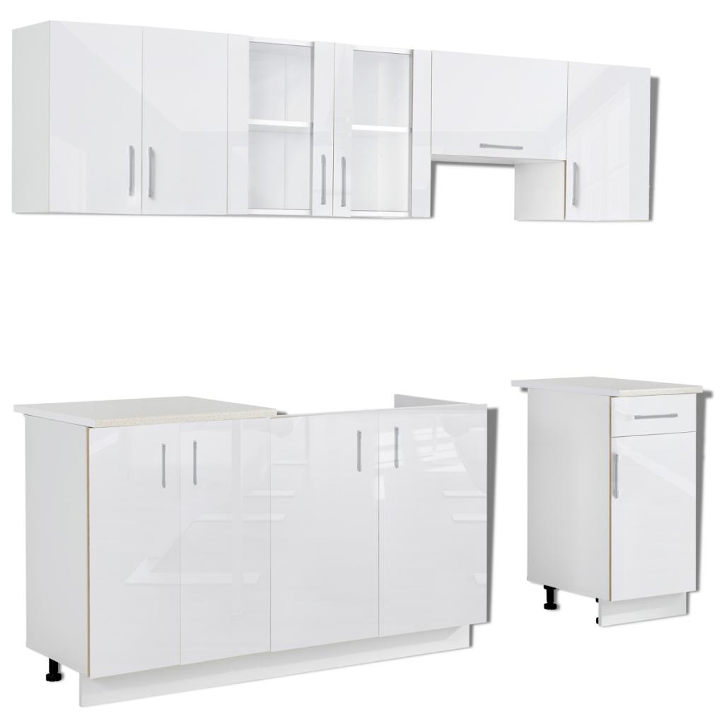 7 pcs high gloss white kitchen cabinet unit 240 cm white 7 pcs high gloss white kitchen cabinet unit 240 cm   lovdock com  rh   lovdock com