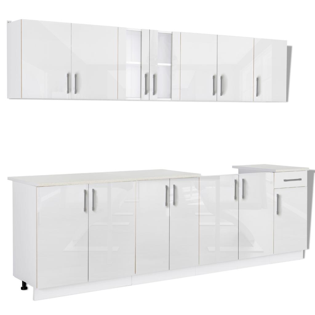 Nur 674.22€, 8 Stück Weiß Hochglanz-Küche-Kabinett mit Spüle Basis ...