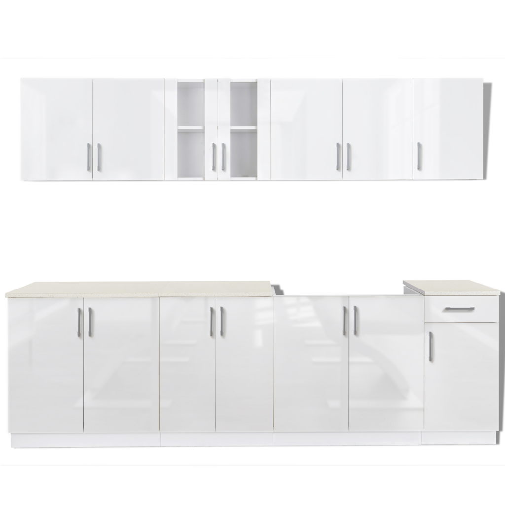 white 8 pcs High Gloss White Kitchen Cabinet Unit with Sink Base ...
