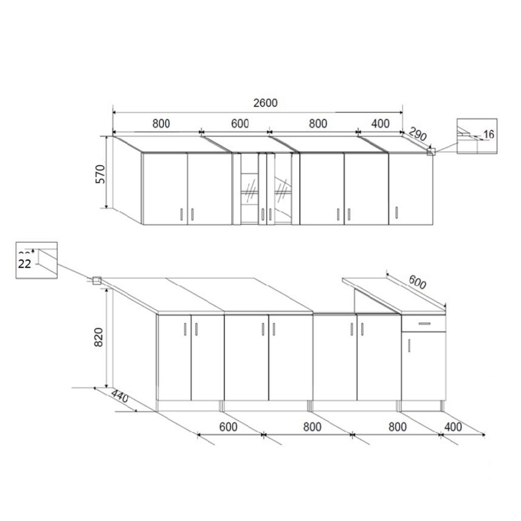 Nur 690.67€, 8 Stück Weiß Hochglanz-Küche-Kabinett mit Spüle Basis ...