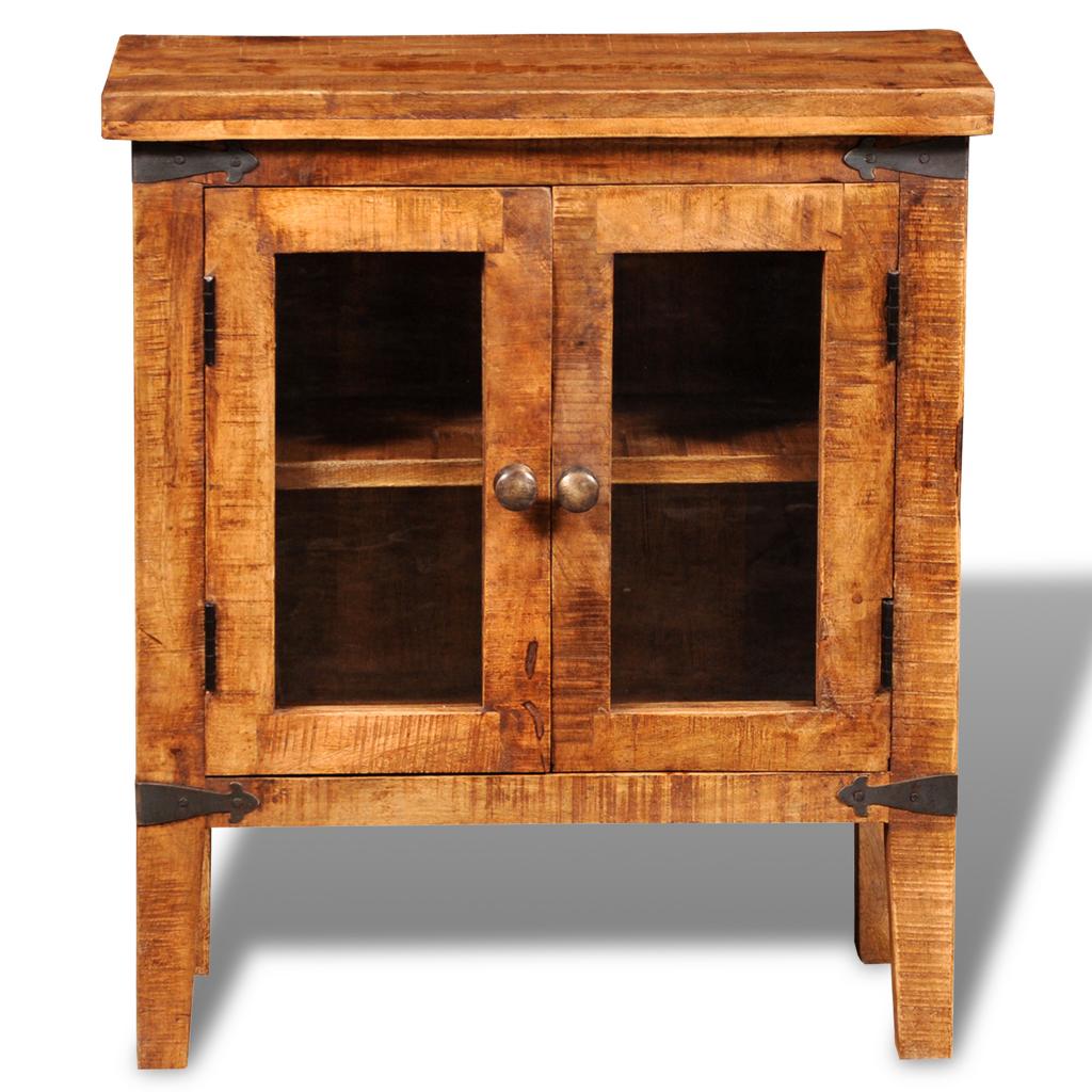 Merveilleux Rough Mango Wood Cabinet With Glass Doors