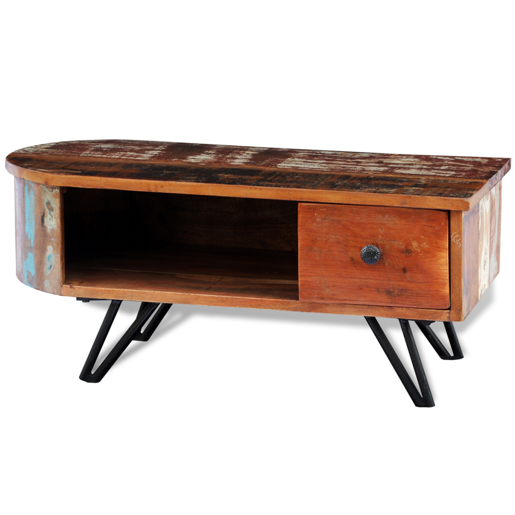 Natural Wood Reclaimed Solid Wood Coffee Table With Iron