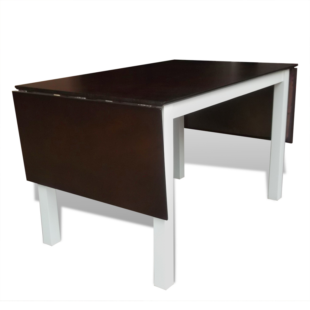 Solid Wood Brown White Extending Dining Table 195 Cm