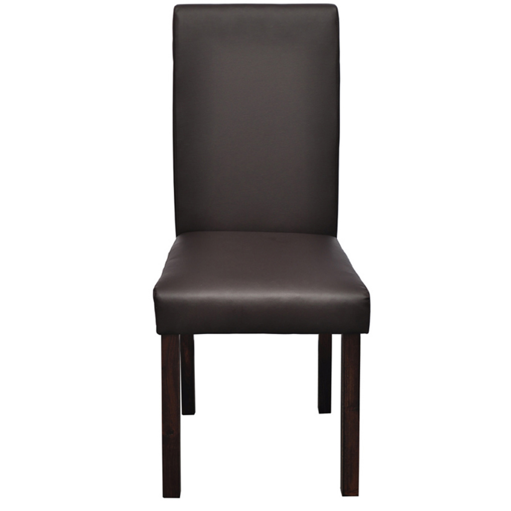 2 pcs artificial leather wood brown dining chair for Wood and leather dining chair