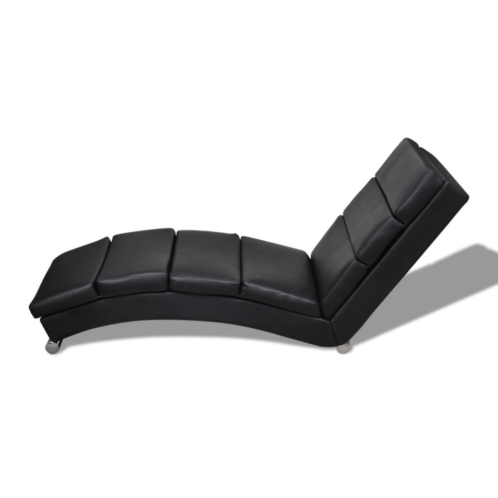 black black artificial leather chaise longue. Black Bedroom Furniture Sets. Home Design Ideas